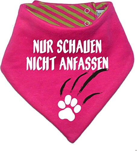 Kleiner Fratz gestreiftes Hunde Wende- Halstuch (Fb: pink-Lime) (Gr.1 - HU 27-30 cm) Nur schauen Nicht anfassen