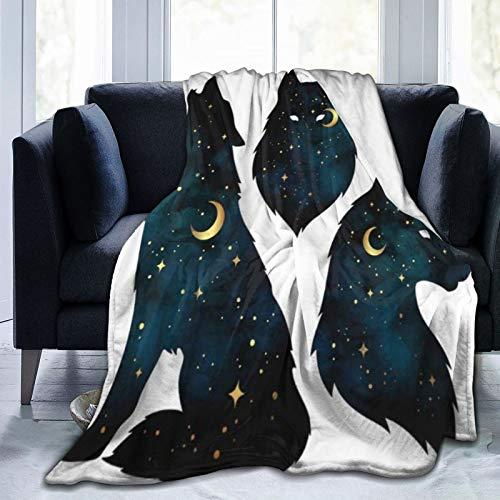 QIUTIANXIU Mantas para Sofás de Franela 150x200cm Conjunto de Siluetas de Lobo con Luna Creciente y Estrellas, impresión de Pegatina aislada o Tatuaje Manta para Cama Extra Suave