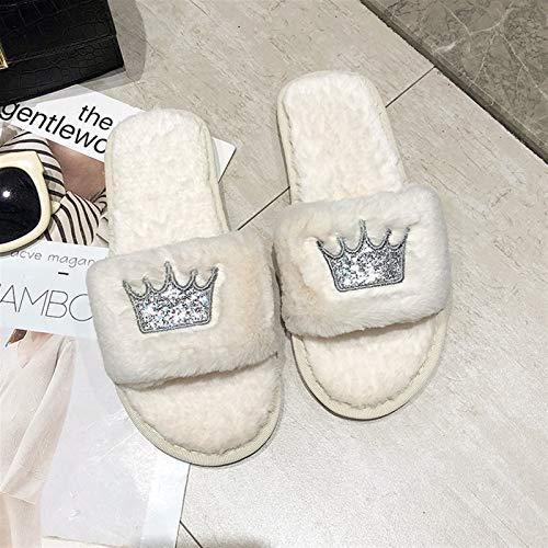 Memoria peluda para la espuma de la espuma de la e Zapatillas de la casa de las mujeres de invierno zapatos de piel sintética zapatos planos cálidos Femenino Slip on Home Furry Ladies Slippers Tamaño