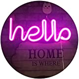 LED Neon Letters Lights Hello Shape Neon Signs Neon Word Light Art Decorative Wall Decor for Night Light Bright Lamp Words for Baby Room Home, Hotel, Christmas Wedding Party Supplies (Pink Hello)