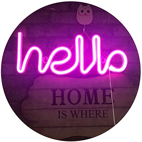 LED Neon Letters Lights Hello Shape Neon Signs Neon Word Light Art Decorative Wall Decor for Night Light