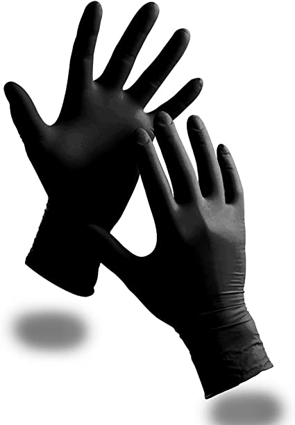 100 senza polvere Guanti di gomma per uso sanitario o tatuatori o meccanici colore: nero misura M in nitrile