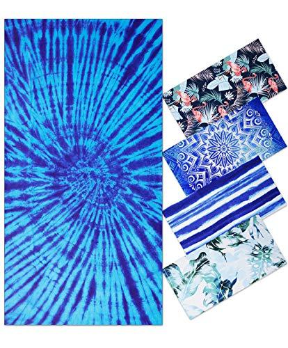 Toalla de Playa Grandes de Antiarena de Microfibra para Hombre Mujer, 180x90cm, Toallas Baño Calidad Secado Rapido para Piscina, Manta Playa, Toalla Yoga Deporte Gimnasio, Bohemia, Azul