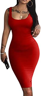 LAGSHIAN Women's Sexy Bodycon Tank Dress Sleeveless Basic Midi Club Dresses
