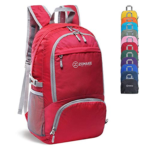 ZOMAKE 30L Lightweight Packable Backpack Water Resistant Hiking Daypack,Small Travel Backpack Foldable Camping Outdoor Bag (Red)