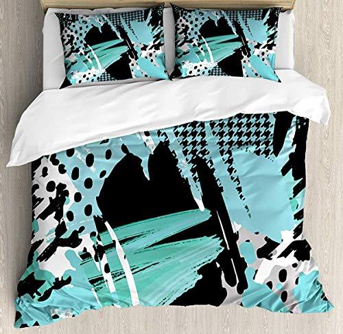 Asaffs Rottweiler - Funda de edredón para cama doble, tamaño pequeño, diseño de perro hipster con imagen de gafas, 3 piezas, juego de cama decorativo con 2 fundas de almohada, color azul y gris