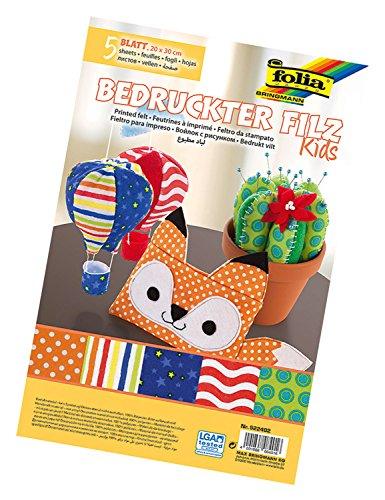 Folia 522402–Fieltro para manualidades con motivos impresos de Kids, 20x 30cm, 5hojas surtidos