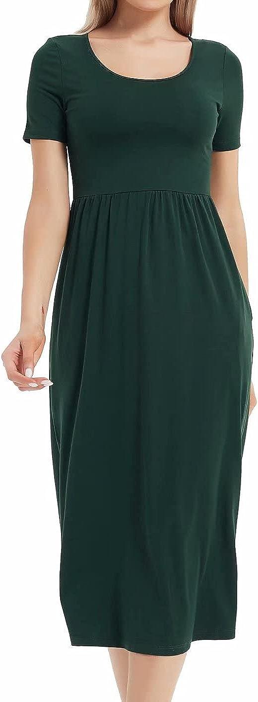 Womens Jersey Short Sleeve Maxi Dress Pocket Cotton Aline Casual Midi Tshirt Dresses