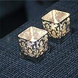 NgMik Mesa de Comedor con candelabros Personalidad Conjunto de 2 Candelabro de Vidrio Cuadrado de Estilo Europeo Simple Cena romántica con Velas Cena de Cristal Candelabro