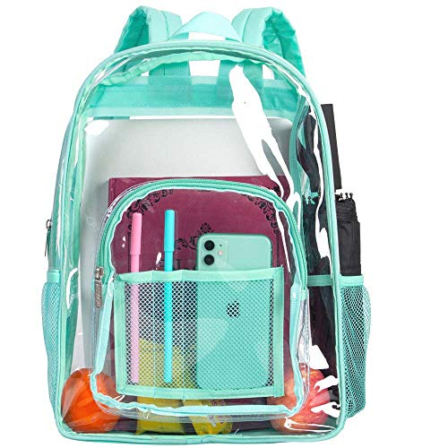 Clear Backpack, Heavy Duty See Through Backpack, 16' Transparent Large Backpack for College - Green