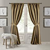 Elrene Home Fashions Versailles Faux Silk Room Darkening & Energy Efficient Lined Rod Pocket Window Curtain Drape Pleated Solid Panel, 52' x 84' (1, Gold