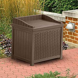 Suncast 22 Gallon Resin Wicker Indoor/Outdoor Storage Deck Box with Seat, Java