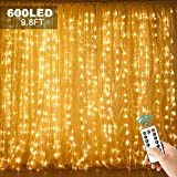 600 LED 9.8FT Curtain String Lights,Twinkle Star Window Lights,USB Powered Fairy Lights for Bedroom, Living Room, Wedding, Party, Christmas, Indoor Wall Decorations, 2 Remote Controllers, Warm White