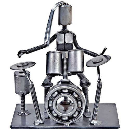 Collectible Art Sculpture 5 Inch Rock Band Drummer Made with Recycled Metal