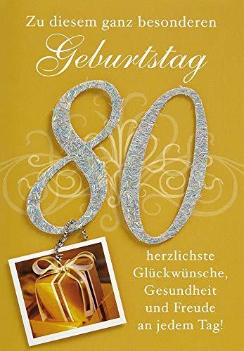 Geburtstagskarte zum 80. Geburtstag Lifestyle - Zahl, Anhänger - 11,6 x 16,6 cm
