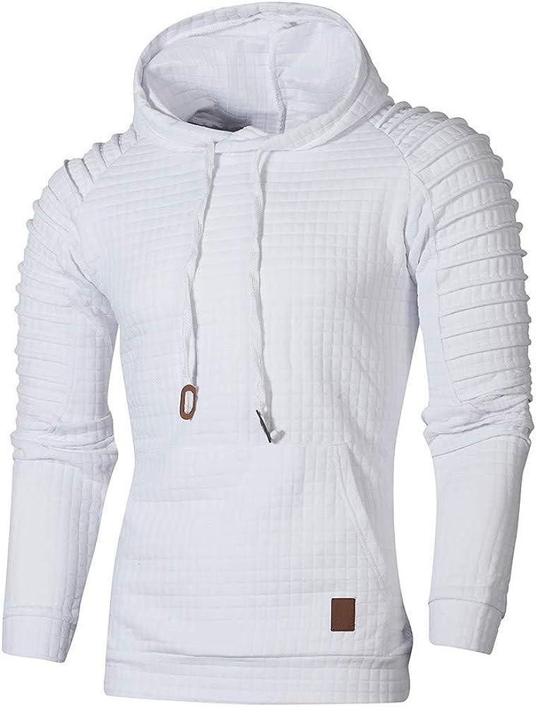 Men's Autumn Long Sleeve Plaid Hoodie Hooded Sweatshirt Top Casual Oversize Outwear Blouse