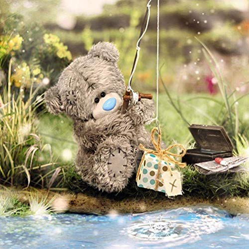 Me to You Tatty Teddy 3D Holographic Card - Bear Fishing for Gift