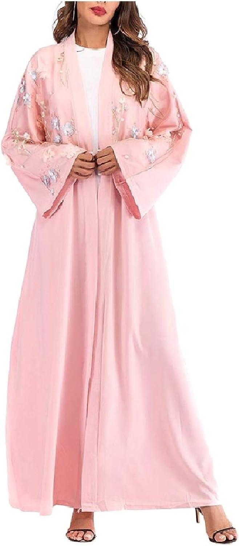 Abetteric Women Cardigan Long Sleeve Floral Tunic Muslim Dresses Abaya