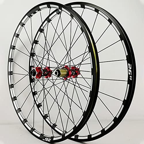 LSRRYD Bicicleta Montaña Ruedas Juego 26/27.5 Pulgadas MTB Llanta Freno De Disco Rueda Eje Pasante 24H Buje 7/8/9/10/11/12 Velocidad 1750g (Color : Red hub, Size : 26inch)