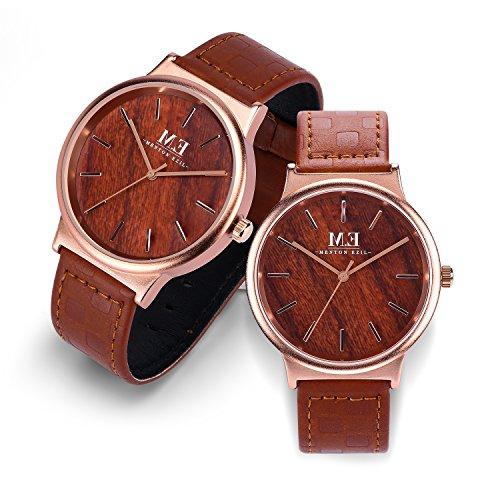 Relojes de Pareja Elegante Madera Rosa Dorado con Acero Inoxidable Cuarzo Analógico Cuera Genuina Impermeable Marrón para Amor - Conjunto de 2