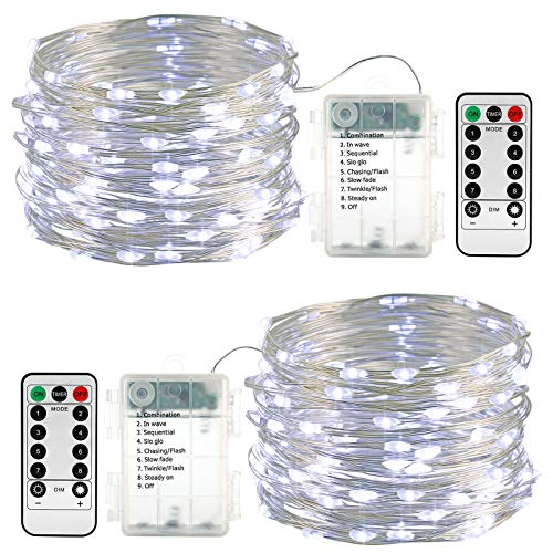 Lyhope 2 Pack 33ft 100 Led Fairy Lights, Battery Operated Waterproof 8 Modes with Remote Timer Twinkle Copper String Lights for Outdoor, Indoor, Wedding, Holiday, Xmas Tree Decor(Cool White)
