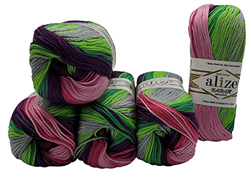Bahar Batik 5 ovillos de 100 gramos de algodón mercerizado, multicolor, 500 gramos de lana de 100%...