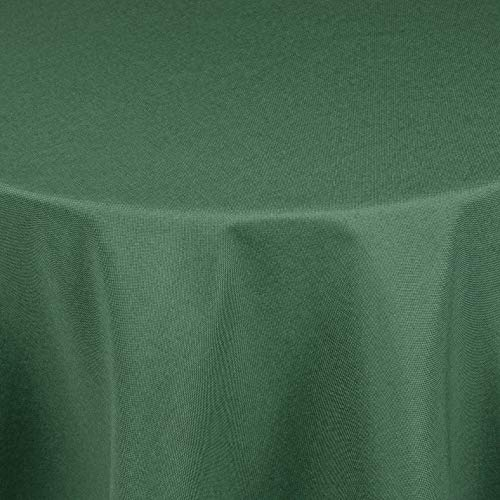 Leinen Optik Tischdecke Tischtuch Tafeldecke Leinendecke Abwaschbar Wasserabweisend Oval 135 x 180 cm Dunkelgrün/Grün Fleckschutz Pflegeleicht mit Saumrand Leinentuch