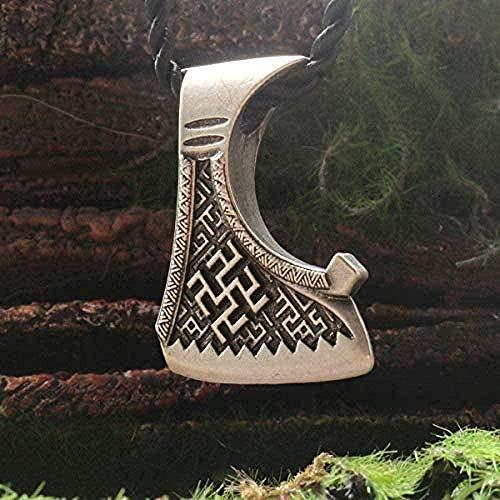 BACKZY MXJP Halskette Männer S Halskette Slawische Axt Anhänger Dukhobor Amulett Slawische Männer Halskette Perun Axt Farn Blumenanhänger Alter Schmuck Für Frauen Männer Geschenke