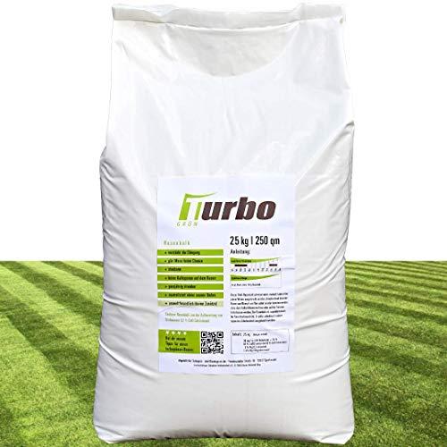 Turbogrün Rasenkalk und Gartenkalk 25kg, Rasenkalk gegen Moos, verstärkt Düngung, staubarm Rasendünger