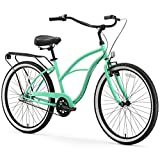 sixthreezero Around The Block Women's 3-Speed Beach Cruiser Bicycle, 26' Wheels, Mint Green with Black Seat and Grips