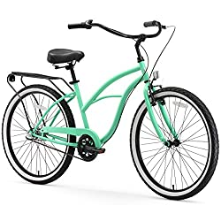 professional Sixthreezero Around the Block Women's Single Speed ​​Beach Cruise Bike, 26-inch wheels, mint green, with black seats and handles, Model: 630042
