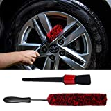 YISHARRY LI Car Woolie Brush and Detailing Brush Kit - Wooly Rim Brush Use Wheel Cleaner,Synthetic Wool Wheel Brushes, Tire Woolies, Soft, Clean Wheels Safely & Hard to Reach Areas