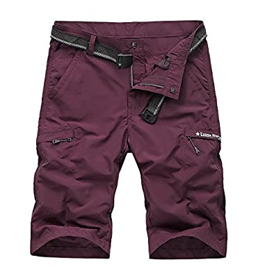 TccTccMallrich Men's Quick Dry Shorts, Outdoor Lightweight Hiking Shorts with Multi Pockets