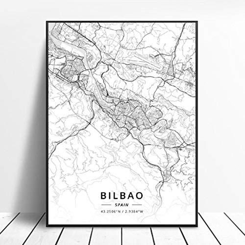Póster del Mapa del Arte de la Lona de Bilbao Gijon Barcelona Valencia Algeciras Ourense España 50x70cm Sin Marco AQ-868