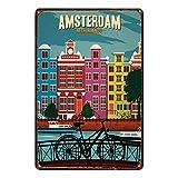 Cartel de metal de no Amsterdam, placa de advertencia de hierro, para decoración de la pared, para cafetería, bar, hotel, oficina, hogar, patio