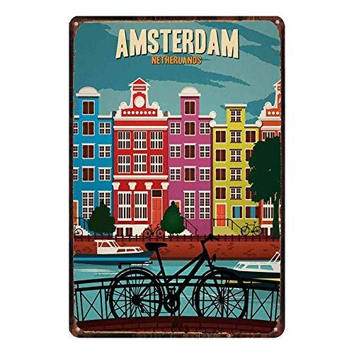 Cartel de metal con texto en inglés «Not Amsterdam para colocar en la pared, para cafetería, bar, hotel, oficina, hogar, patio