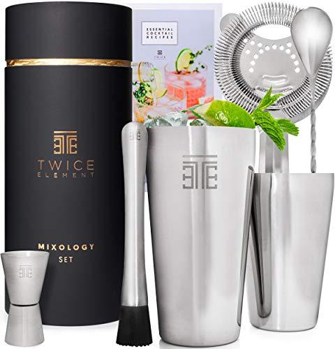 Twice Element® Cocktail Shaker Set| Edelstahl Shaker im Boston-Stil | Reichhaltiges Zubehör für einfachste Handhabung | Bonus-Rezeptbuch, Elegante Geschenkbox & Aufbewahrungstasche (Schwarz)