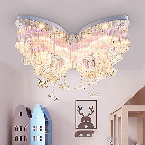 RUNNUP Mädchen Deckenlampe Schlafzimmerlampe Lampe Kinderlampe Modern Kreative Schmetterling Deckenleuchte Jungen LED Schlafzimmer Dimmbar Kristall für Wohnzimmer Zuhause Kinderzimmer Größe :B60Cm
