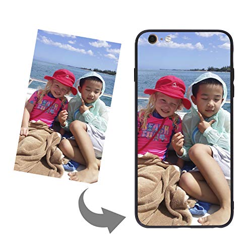Customize Your Own Phone Case-Tempered Glass Phone Case with Soft Edge Personalized Photo Text Logo Back Cover Case Compatible with iPhone 6 Plus 6s Plus, Black