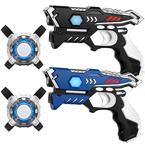 KidsFun Lasertag Set: 2 Laser Pistolen + 2 Laser Tag Weste - Laserpistolen Set für Kinder Ab 7 Jahren