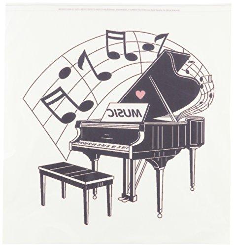 3dRose HT 44809_ 3schwarz Klavier mit Dancing Notizen N Love Musik auf it-Iron auf Wärmeübertragung für weiß Material, 10von 25,4cm