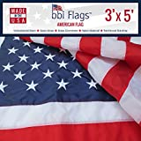 BBI Flags American Flag- 100% Made in USA Flag - Tough Nylon US Flag with Embroidered Stars & Sewn Stripes - Indoor - Outdoor United States Flag with Brass Grommets – 3x5