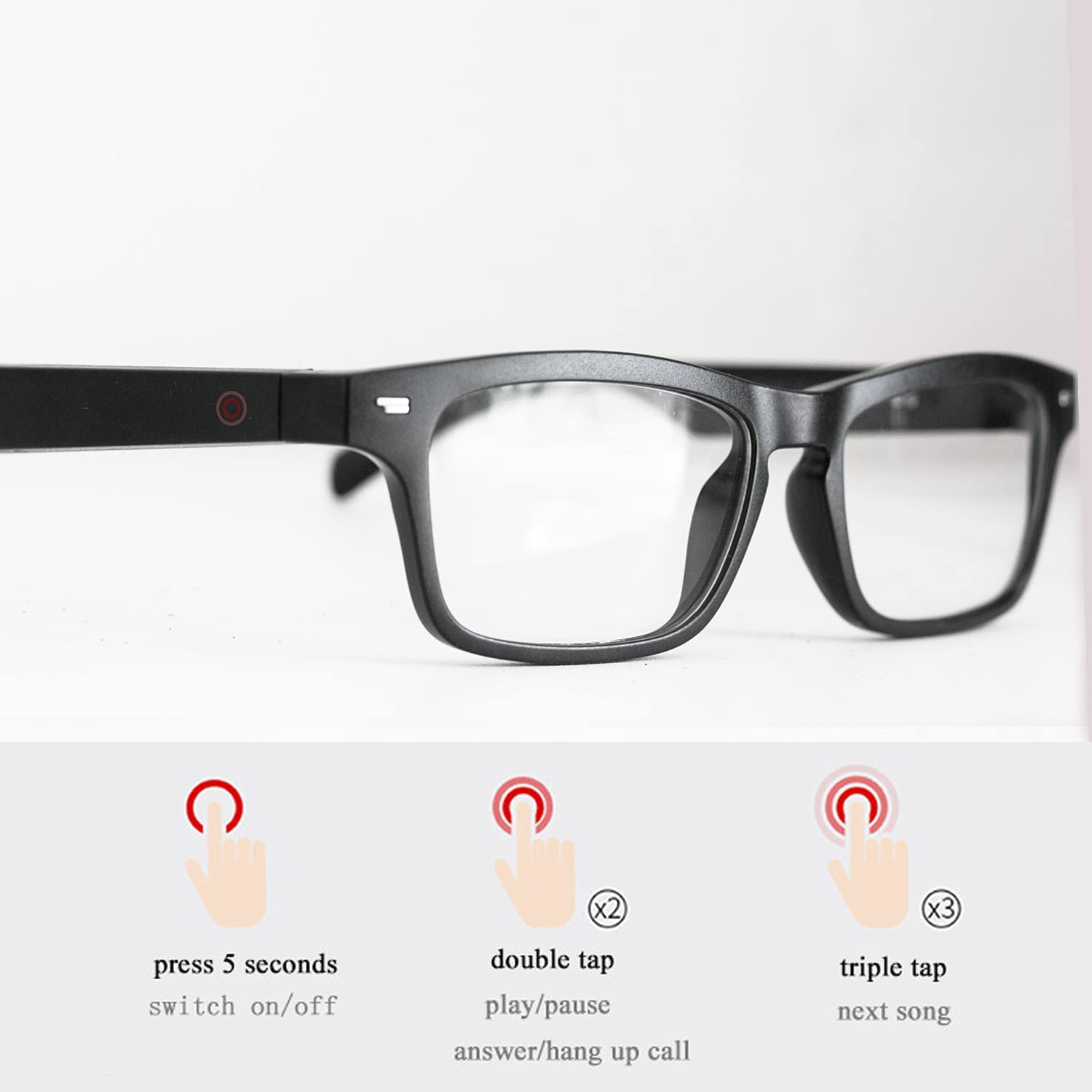 Bluetooth Wireless Smart Glasses, Blue Light Blocking Glasses, Music, Game, Reading and Calling Glasses for Work or Study ( Blue Light Blocking, Black)