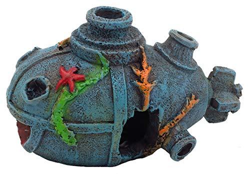 Gumolutin 1 pieza acuario naufragio decoración submarina pecera ornamento – resina material hundido barco betta decoraciones, respetuoso con el medio ambiente para agua dulce salada