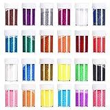 Purpurina Manualidades 24 Colores Purpurina para Disfraces, decorar tarjetas y papel,Maquillaje y Manualidades, Cuerpo, Cabello Uñas y Arte