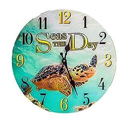 New 13X 13 Seas The Day Turtle Glass Wall Clock Home Wall Decor Marine Coastal Nautical