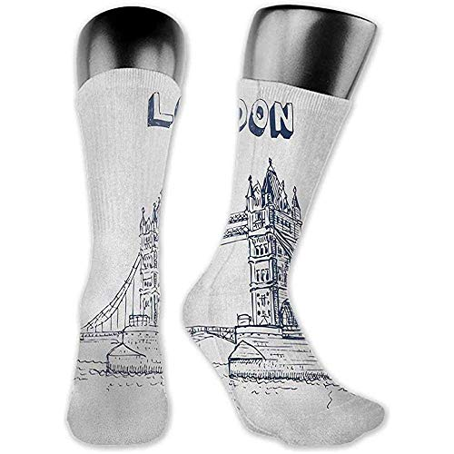Dydan Tne Socken-Sport-Mann-Frauen London, Turm-Brücke in der London-britischen Architektur-internationalen Kultur-Ikonen-Illustration