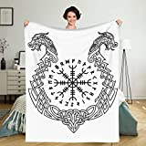 Viking Nordic Scandinavian Helmet Rebel Terror Icelandic Witchcraft 80X60 inch Throw Blanket Super Soft Fuzzy Cozy Warm Fluffy Plush Blanket for Bed Couch Chair Living Room Fall Winter Spring