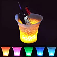 SMETA 5L Colorful LED Ice Bucket Portable LED Color Changing Ice Bucket for Party/Home/Bar/KTV Clubs, Pack of 5 PCS