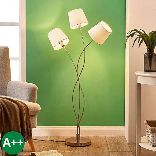 Lindby Stehlampe 'Sharon' (Modern) in Creme aus Textil u.a. für Wohnzimmer & Esszimmer (3 flammig, E14, A++) - Stehleuchte, Floor Lamp, Standleuchte, Wohnzimmerlampe, Wohnzimmerlampe
